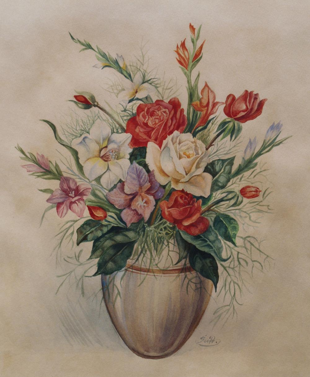 rosen in vase signiert feidt ca 1950 ebay. Black Bedroom Furniture Sets. Home Design Ideas